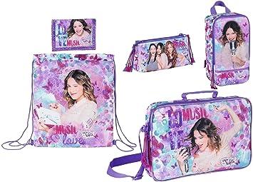 Disney Violetta - Mochila Escolar, Bolsa de Deporte, Bolsa de Zapatos, Estuche y Monedero, Color Lila: Amazon.es: Equipaje