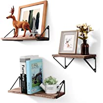 03d9a44ad9 ... BAYKA Floating Shelves Wall Mounted Set of 3, Rustic Wood Wall Shelves  for Living Room