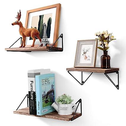 Com Bayka Floating Shelves Wall Mounted Set Of 3 Rustic Wood For Living Room Bedroom Bathroom Home Kitchen