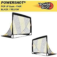 POWERSHOT Fußballtor POP UP - 2 Größen zur Auswahl - 2er Set - faltbares Garten Fußballtor für Kinder in schwarz/gelb