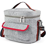 FUNJIA- Double-Decked Insulation Lunch Bag With Felt + Foil, Zip Closure, For Women, Men, Adults, Kids, Girls, and Teen Girls, 7.6 Inch High 8.8 Inch Wide ,(Gray)