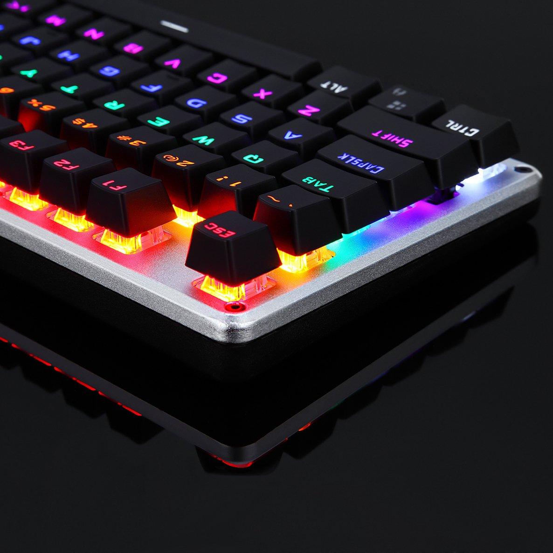 LINGBAO JIGUANSHI Gaming Keyboard 87 teclas de ordenador USB con cable de metal paneles retroiluminados teclado mecánico La mezcla de luz, bisel de plata, ...