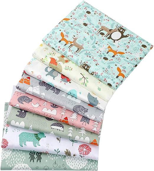 8 Piezas de tela 100 % algodón de 40 x 50 cm para patchwork; retales de algodón con motivos de rinocerontes, osos y otros animales, para manualidades, costura, scrapbooking: Amazon.es: Hogar