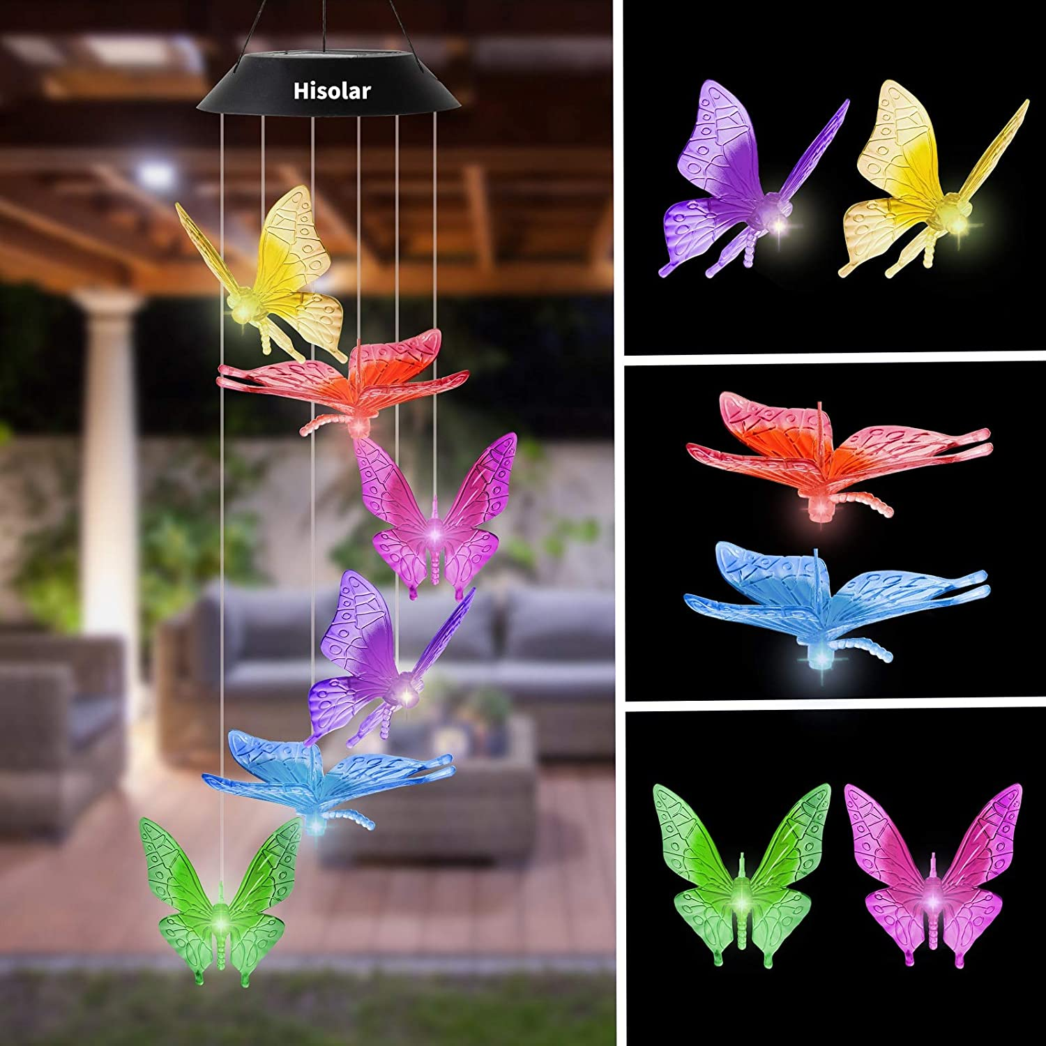 HiSolar Butterfly Solar Wind Chime Color Changing Solar Mobile Light Waterproof LED Wind Chime Solar Powered Wind Mobile Colorful Light for Home Party Yard Garden Decoration(Yellow Blue)