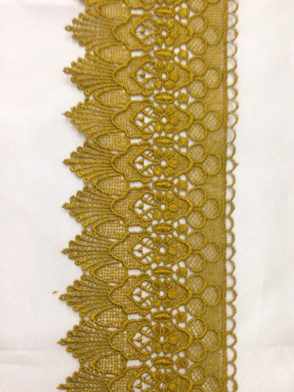 Mctrimmings MUSTARD GOLD BEAUTIFUL GUIPURE LACE TRIM EDGING Wedding Border 3.75 Inch//9.5 cm X 1 Yard