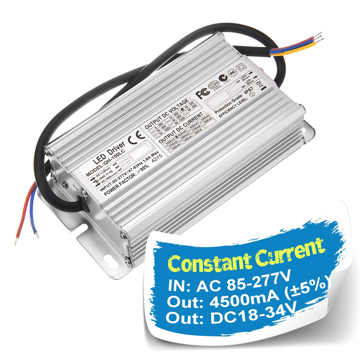 Chanzon LED Driver 4500mA (Constant Current Output) 18V-34V (Input 100-240V AC-DC) (6-10) x15 120W 150W IP67 Waterproof High Power Supply 4500 mA Lighting Transformer for 150 W COB Chips (Aluminium)