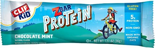 CLIF KID ZBAR – Protein Granola Bars – Chocolate Mint Flavor – 1.27 Ounce Gluten Free Bars, Lunch Box Snacks, 10 Count
