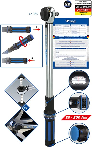 1//2, 20-200 NM Powered by Ks Tools BRILLIANT TOOLS BT141901 Llave dinamom/étrica con Cabezal de carraca Negro//Azul