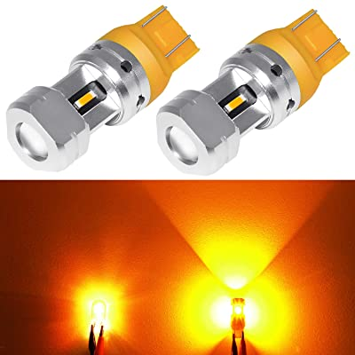 Phinlion 3600 Lumens 7443 7444 LED Turn Signal Light Bulb Super Bright 7440 7442 7443A 7444NA LED Bulbs for Turn Signal Blinker and Parking Lights, Amber Yellow: Automotive