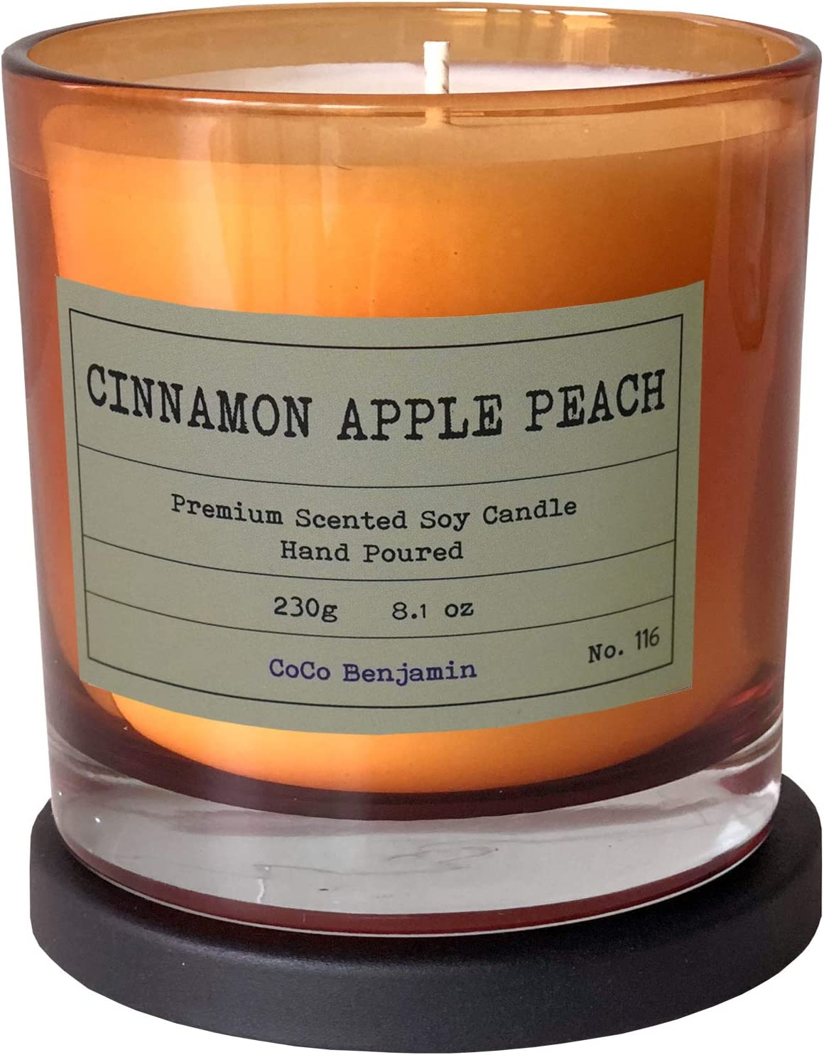 Soy Candle, Highly Scented, Hand Poured, 8.1 oz (Cinnamon Apple Peach)
