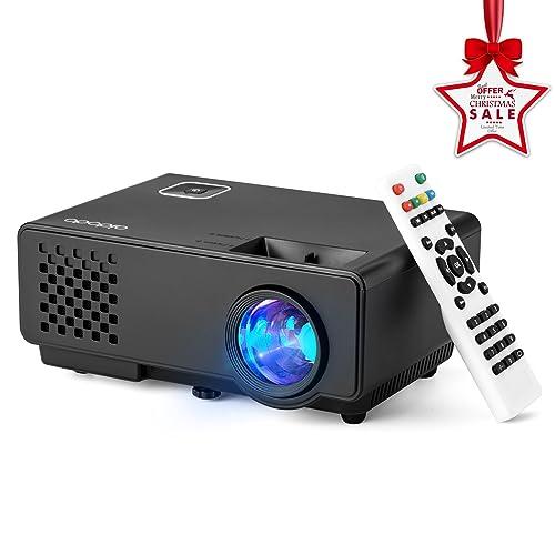 Aidodo Proyector Portatil Mini vídeo proyector 1800 lúmenes proyectores 1080P Full HD LCD Projector con USB HDMI VGA para Video Game Movie Xbox PC Conversación bidireccional de la ayuda supervisión de la temperatura canciones de cuna de largo alcance