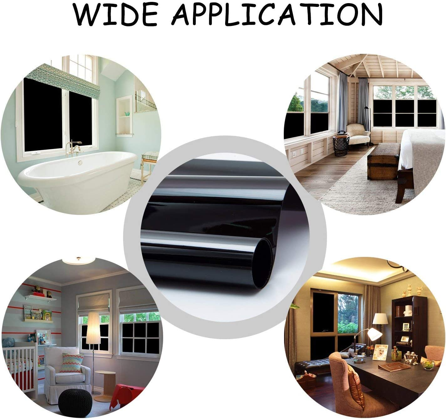 Do4U Blackout Window Film Blackout Blinds Stick On Static Cling Tint for 24 Hours Window Privacy 44.5 * 100cm, Black Room Darkening Window Treatment for Nap Time,Night Working,Baby Room No Glue