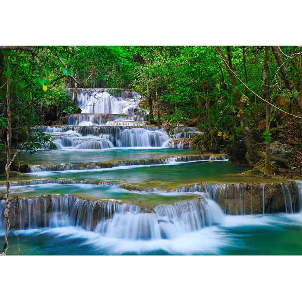 wall26 - Deep Forest Waterfall in Kanchanaburi, Thailand - Removable Wall Mural | Self-Adhesive Large Wallpaper - 100x144 inches by wall26 (Image #2)