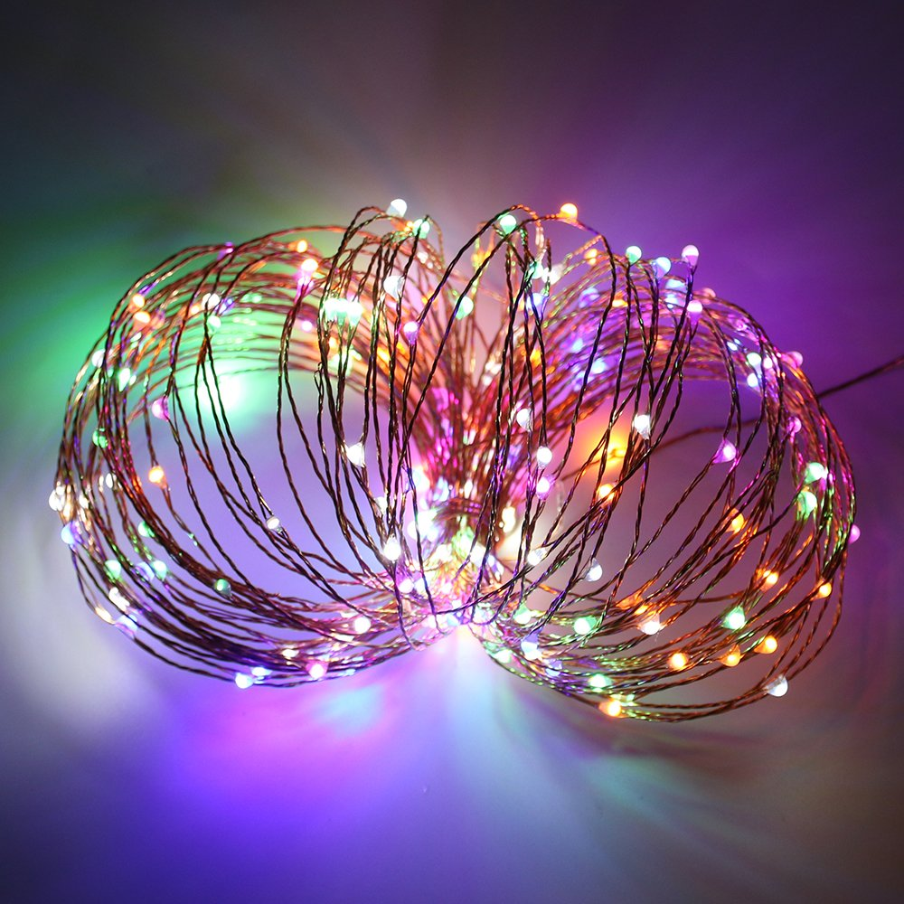 Warm White, Blue ErChen Dual-Color Solar Powered LED String Lights 33FT 100 LEDs Remote Control Color Changing 8 Modes Copper Wire Decorative Fairy Lights for Outdoor Garden Patio