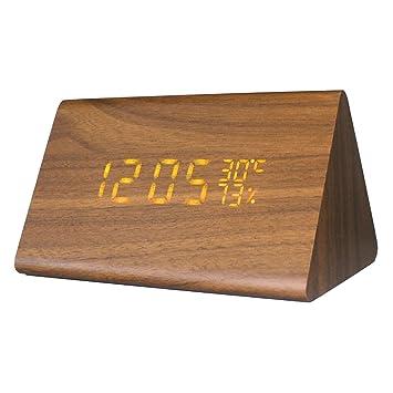Gosear Triángulo Reloj Despertador Digital Madera Control de Sonido Sensor Display Termómetro Calendario Naranja
