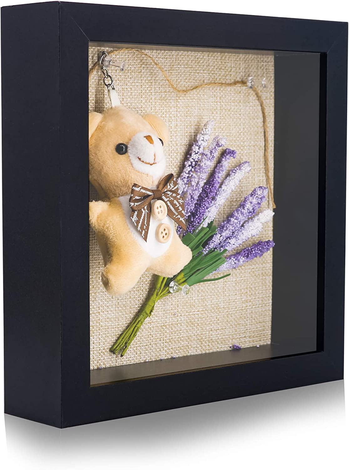GraduatePro Shadow Box Frame 8x8 Display Case Black with Linen Background and 6 Stick Pins Memorabilia Awards Medals Photos Memory Box
