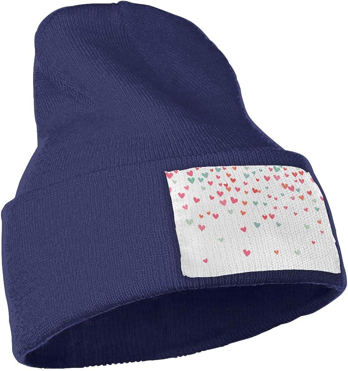Many Flying Hearts On White Background Unisex Fashion Knitted Hat Luxury Hip-Hop Cap
