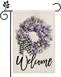 CROWNED BEAUTY Spring Floral Tulips Lily Welcome Garden Flag 12×18 Inch Small Vertical Double Sided Seasonal Outside Décor for Yard Farmhouse CF085-12