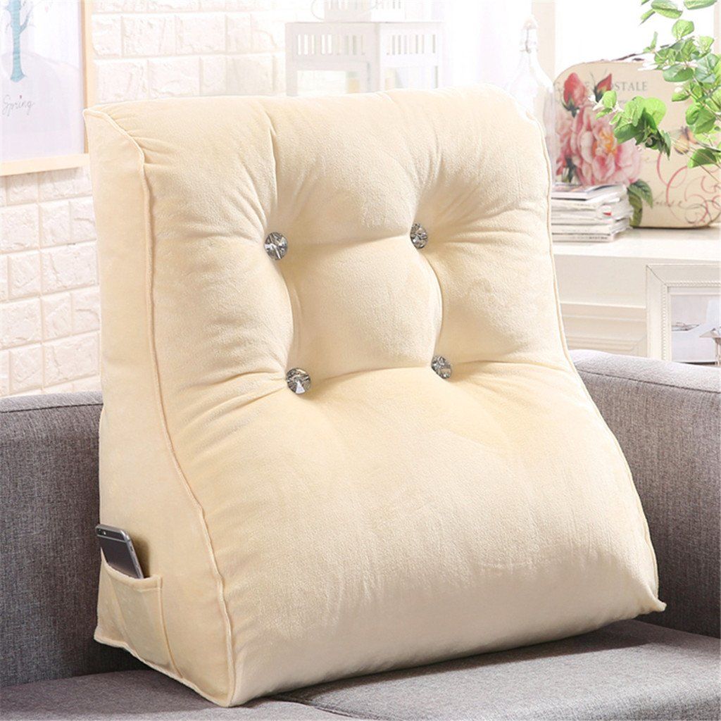 LIXIONG Triangle Cotton Headboard Cushion Office Sofa Back Cushions Neck Protection Pillow Floating Window backrest Soft Package (Color : White, Size : 4555cm)