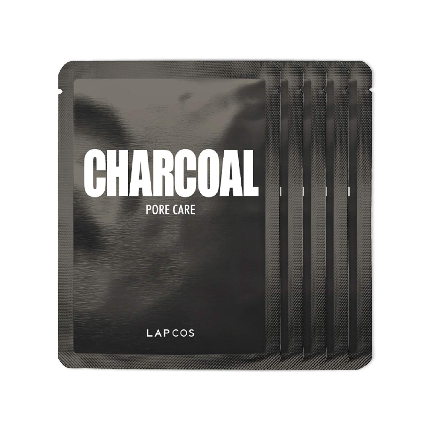 LAPCOS Charcoal Sheet Mask, Daily Face Mask with Salicylic Acid and Tea Tree Oil to Detoxify and Tighten Skin, Korean Beauty Favorite, 5-Pack