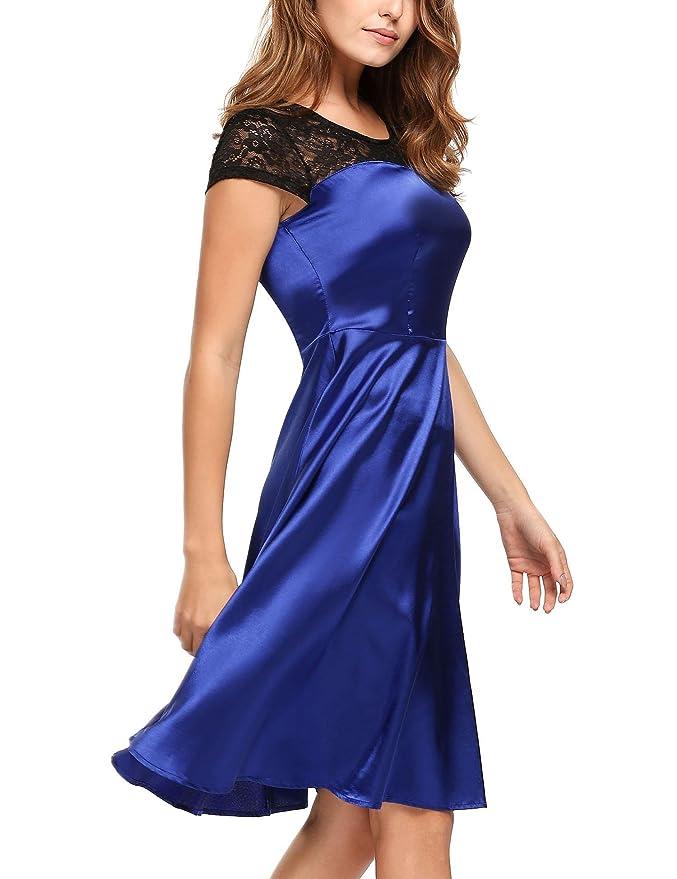 376e59563a0a0a ACEVOG Damen Satin Kleid Spitze Knielang Festlich Hochzeit Party Cocktail  Festkleid Abendkleider: Amazon.de: Bekleidung
