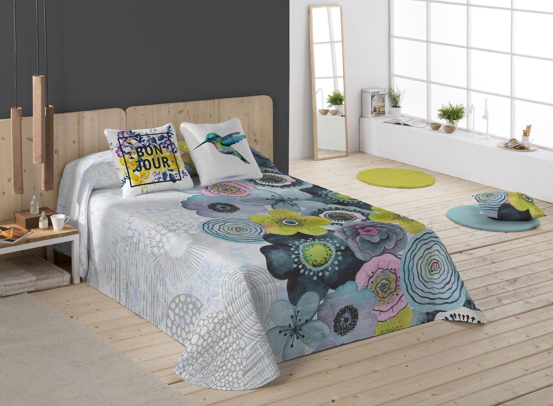 NATURALS Bonjour Colcha, algodón, Blanco/Azul/Amarillo, Cama 90 (180 x 260 cm), 2: Amazon.es: Hogar
