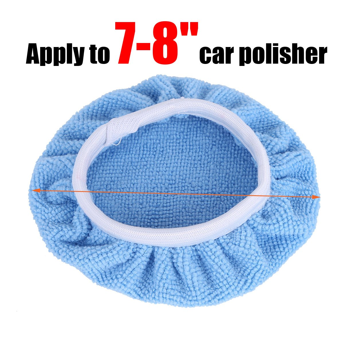 Freebily 5 Pieces Soft Microfiber Auto Car Polisher Pad Waxing Polishing Bonnet Buffing Cover 5-6/7-8/9-10 Inches Blue 7-8 Inches by Freebily (Image #2)