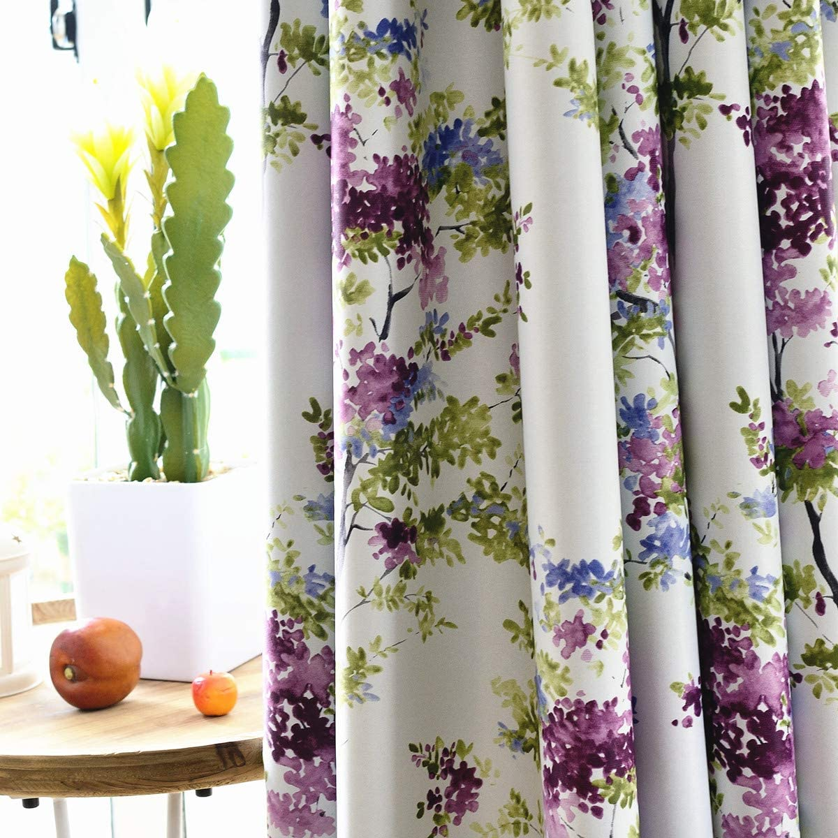 MYRU 2 Panels Set Purple Flower Curtains for Living Room Green Leaves Blackout Curtains for Bedroom 2 x 54 by 84 Inch,Purple