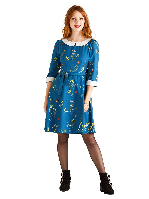 625bb9ada549d Peter Pan Collar Bird Printed Dress: Amazon.co.uk: Clothing