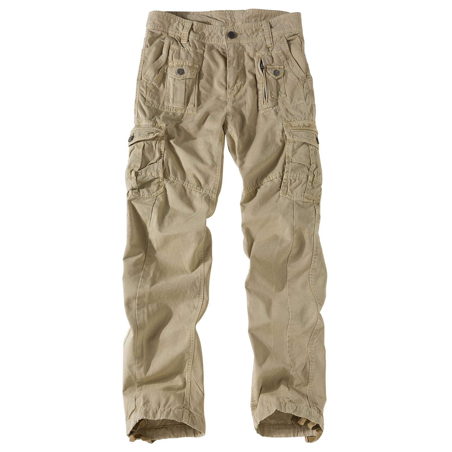 Eaglide Mens Relaxed Fit Cotton Casual Pant, Men's Military Outdoor Pockets Cargo Pants (Khaki, 36W × 32L)