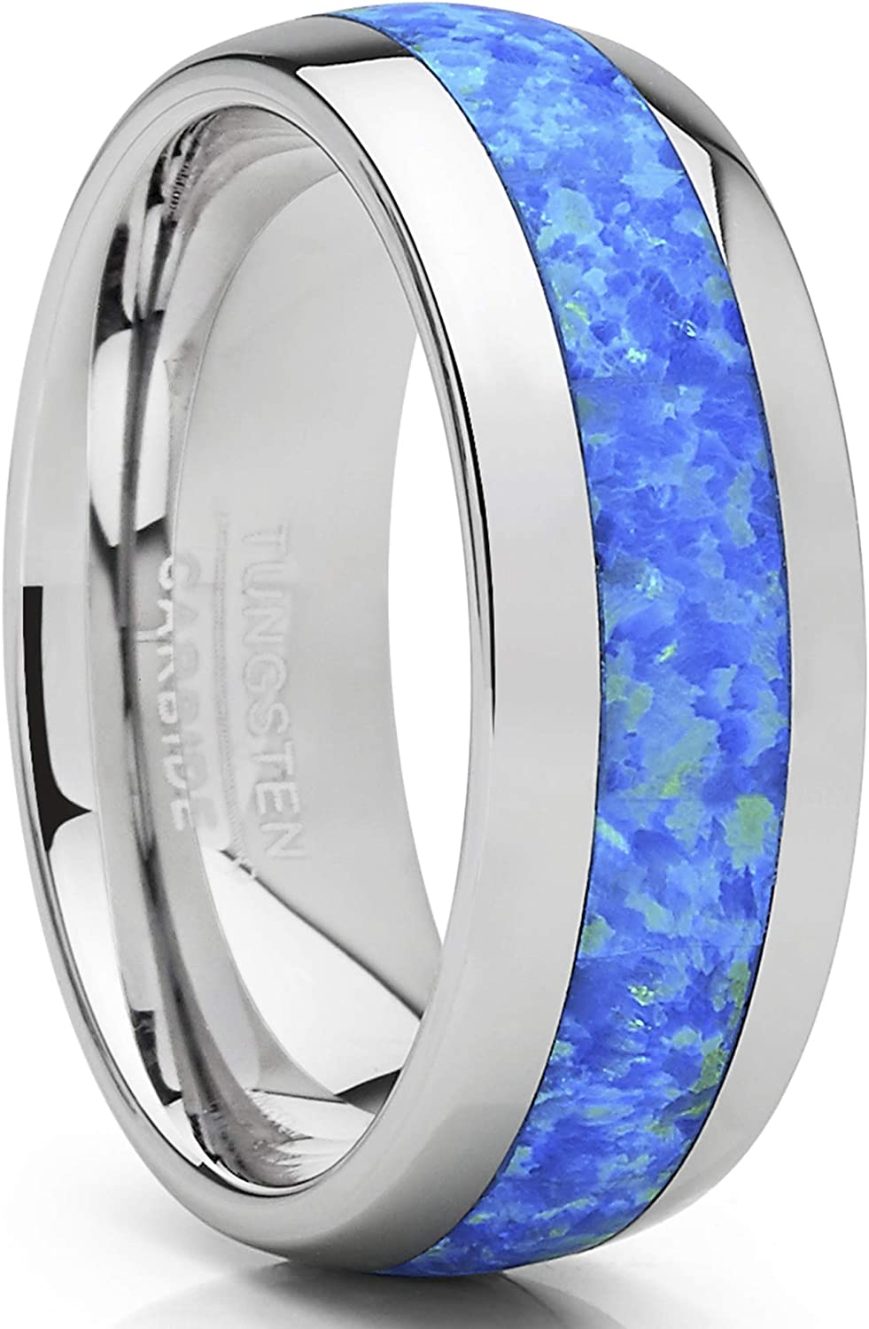 Metal Masters Co. Tungsten Carbide Wedding Band Dome Ring with Blue Green Simulated Opal Inlay 8mm