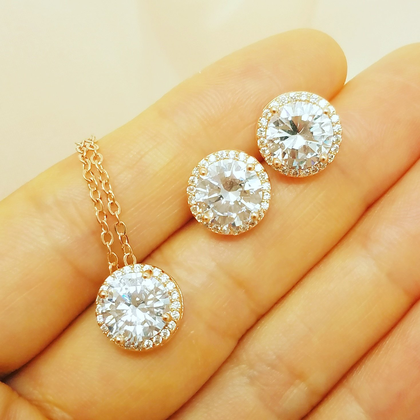 Bridesmaid Gifts - Pretty Halo Cubic-Zirconia Necklace & Earrings Set (18'', Rose gold) by Bride Dazzle (Image #6)