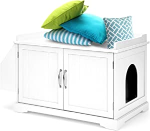 Best Choice Products Large Wooden Indoor Cat Litter Box Enclosure Cabinet, Side Table, Storage Bench Furniture for Living Room, Bedroom, Bathroom w/Magazine Rack