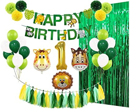 1st Birthday Party Decorations Kit Wild One Supplies With Banner Animal Number 1 Balloons