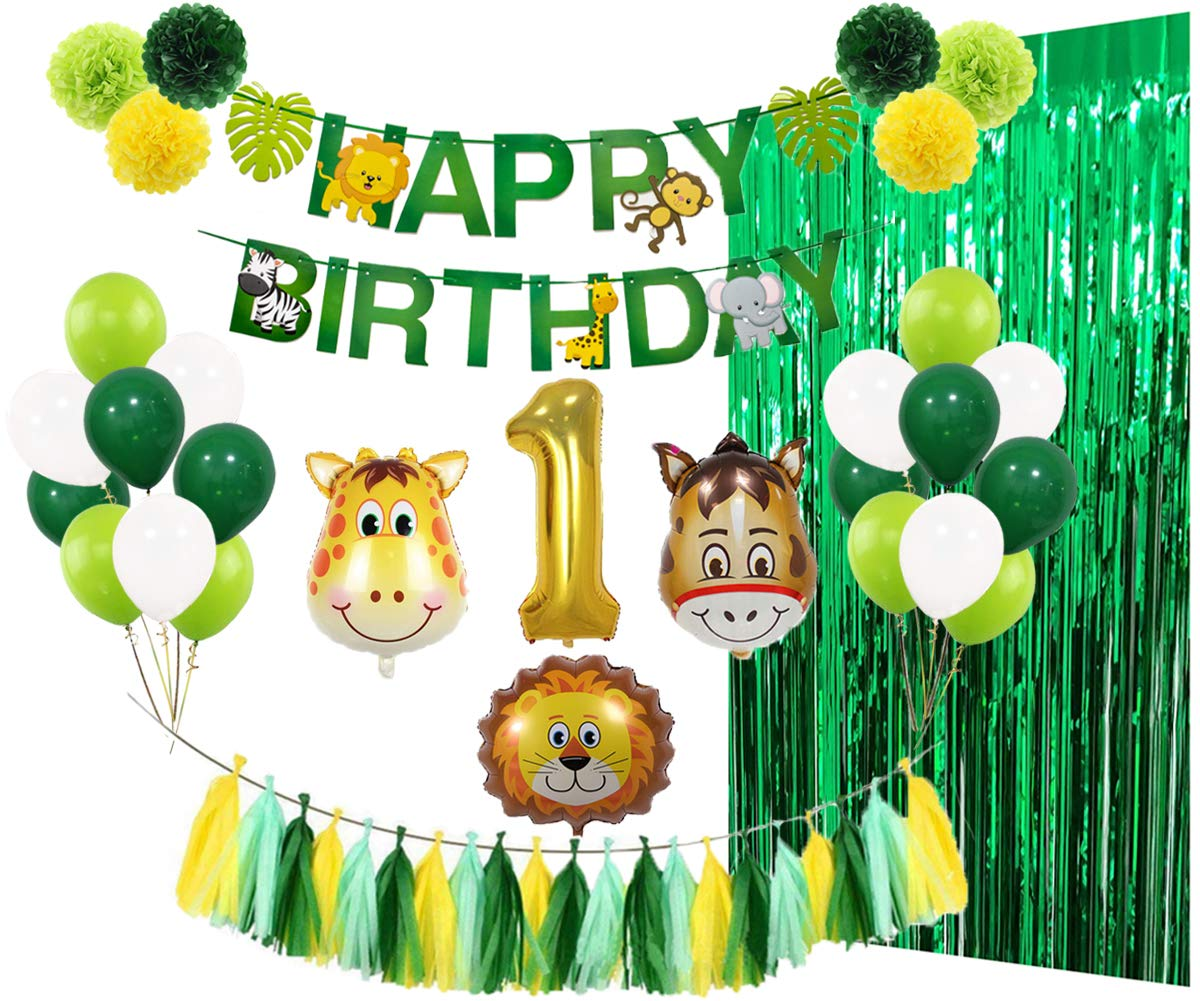 1st Birthday Party Decorations Kit, Wild One Party Supplies with Banner Animal Number 1 Balloons Green Foil Fringe Curtain Tissue Pom Poms Tassel Garland for Boy Girl