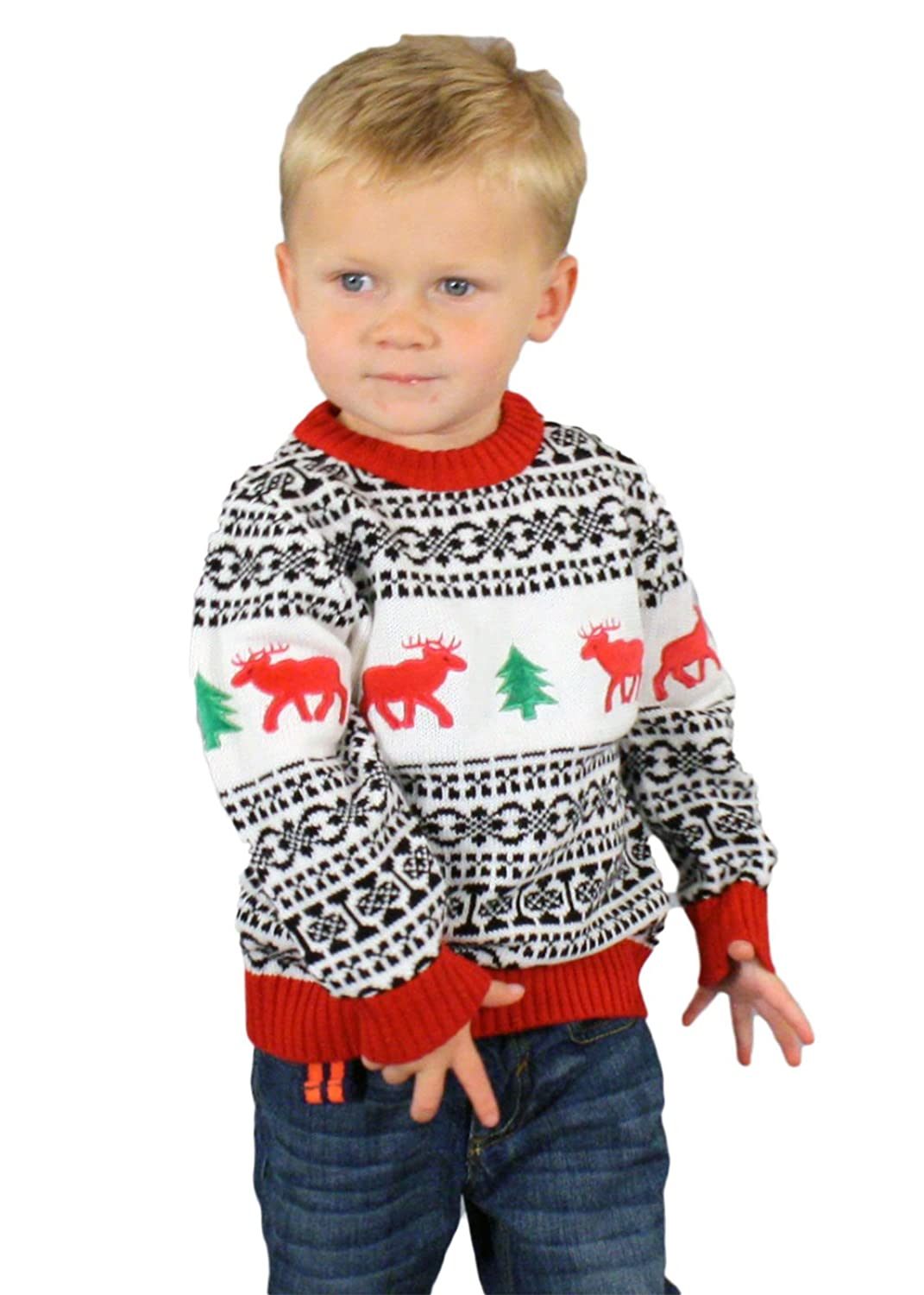 Amazon.com: Holiday Reindeer Sweater in Antique - Children's Ugly ...