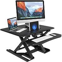 Langria Ergonomic Steel X-frames Computer Desk Workstation (Black)