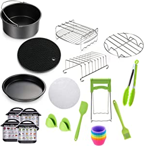 7 Inch Square Air Fryer Accessories, 15 pcs Air Fryer Accessories with Recipe Cookbook Compatible for Philips Air Fryer, COSORI and other Square, Deep Fryer Accessories Universal Accessories