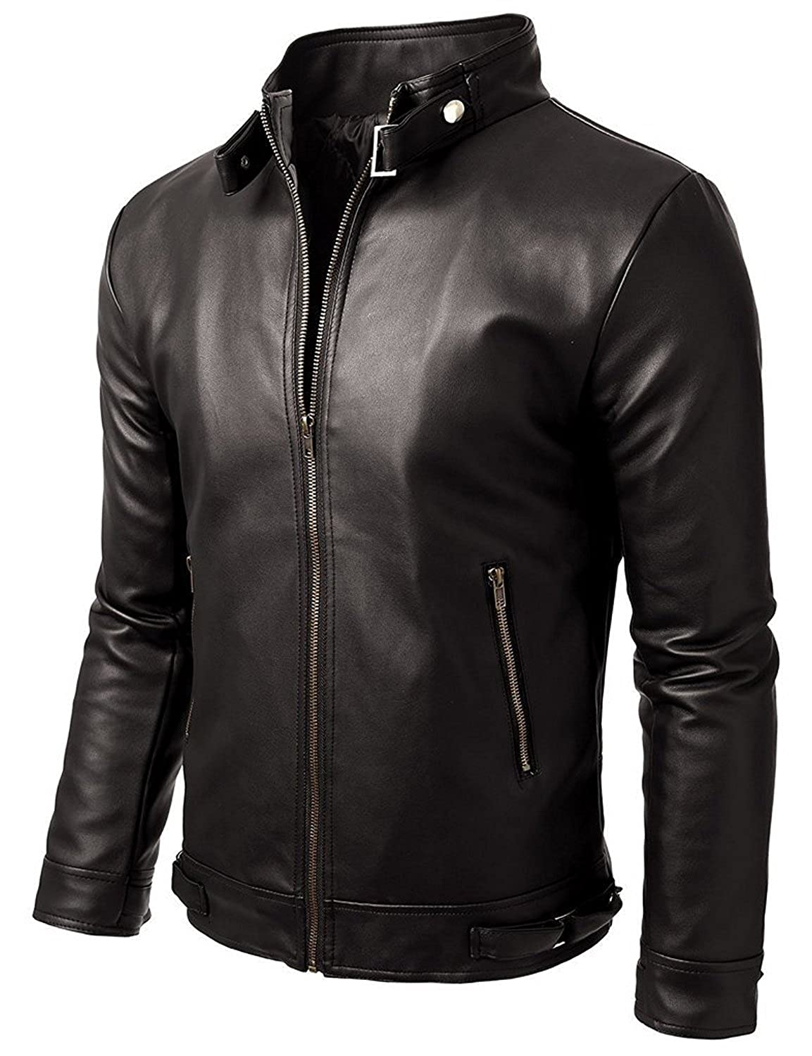 Noora Men's 100% Pure Leather Jacket Slim Fit: Amazon.in: Clothing ...