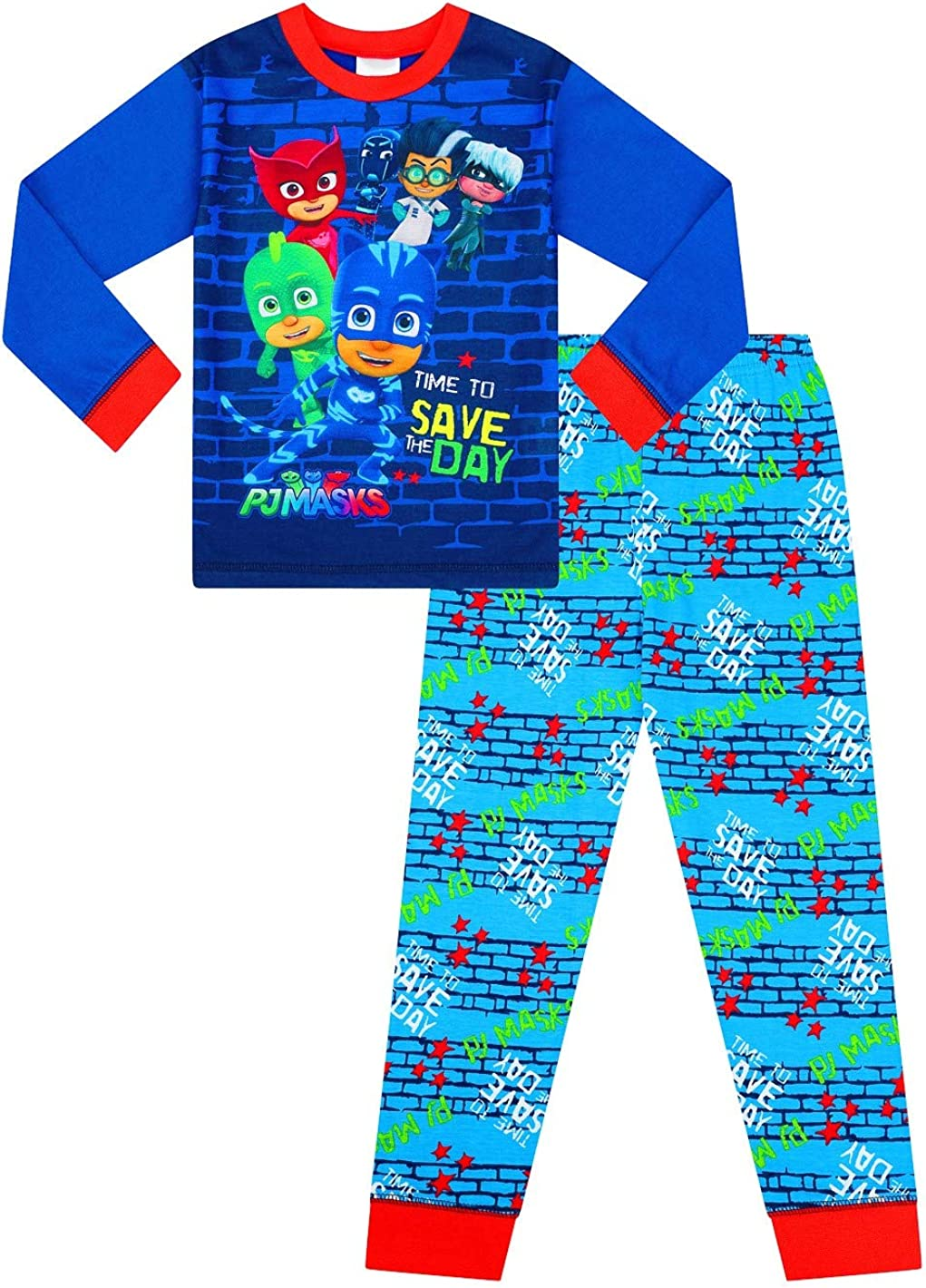 Pijama largo para niños con máscara de pijama azul
