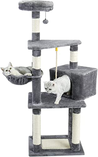 Made4Pets 53 Inches Cat Tree Cat Condo with an Extra-Large Scratching Pad, Basket Supported by Two Posts Gray