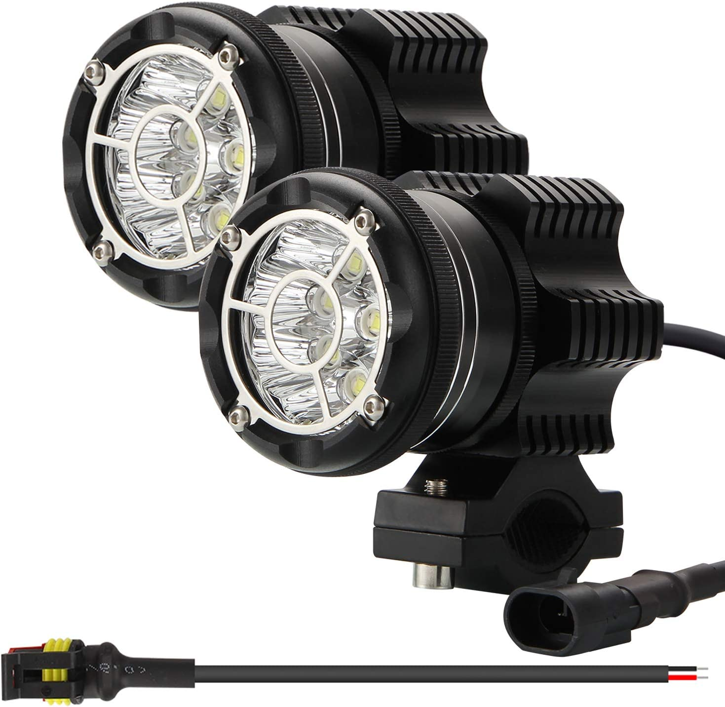 Kairiyard Kit LED Round Headlight EVO 90W 6000K 9000lm Motorcycle Auxiliary Light CREE Chip Additional Light Motorcycle Road Light Spotlight+Flashlight Lens in Tempered Glass Bimode CNC IP68