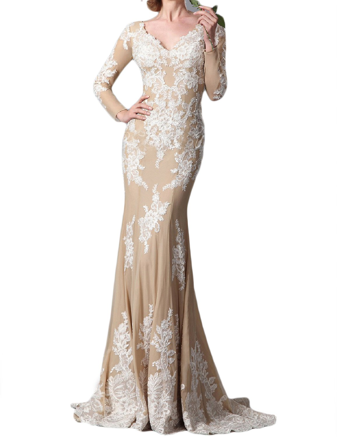 PromCC Womens Lace Evening Dresses Long Sleeve Mermaid Formal Gowns PEV172