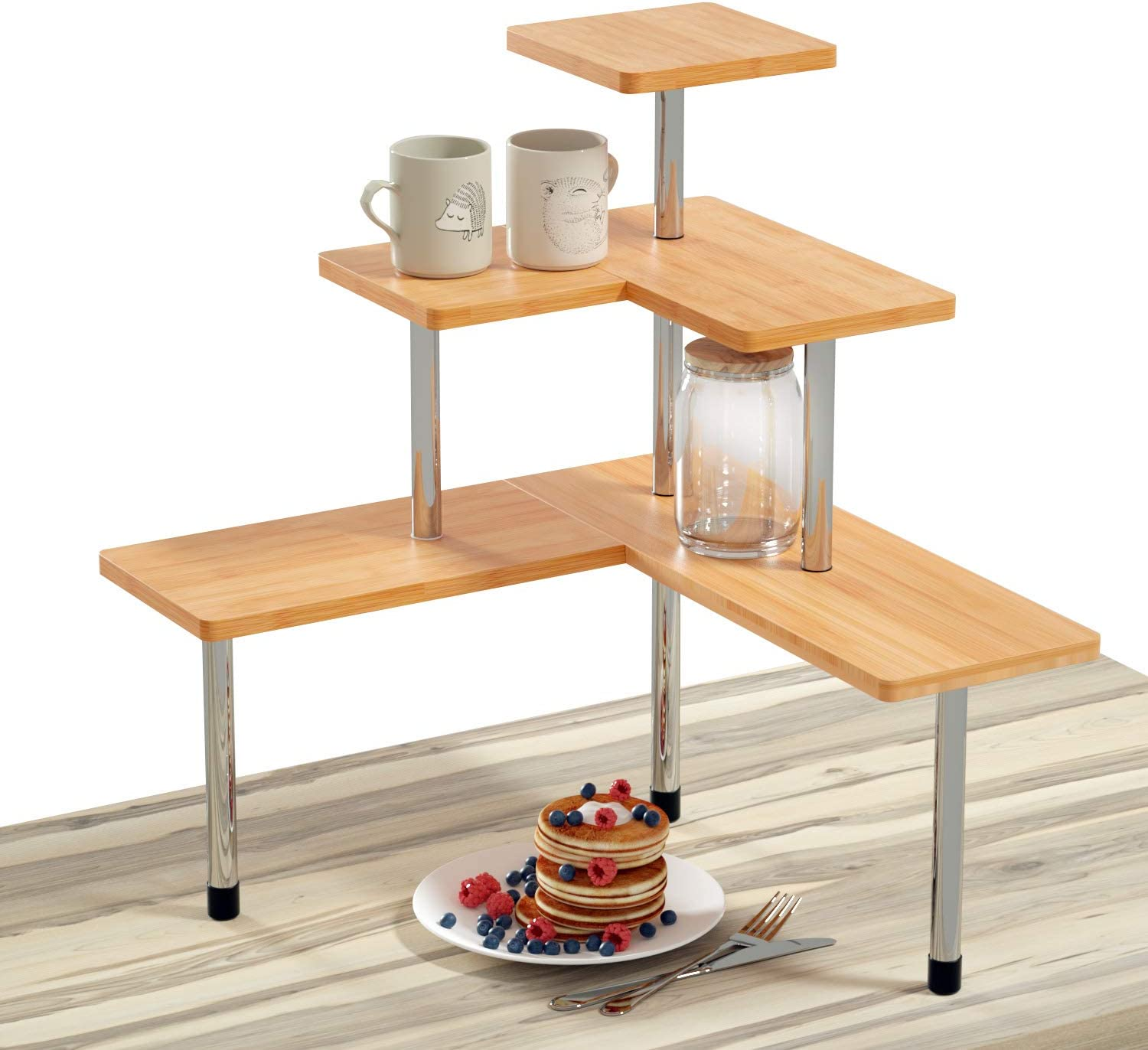 Ollieroo Compact Kitchen Counter Organizer, 3 Tier Multiple Combinations Corner Shelf Bathroom Countertop Storage Rack (Patented Product)