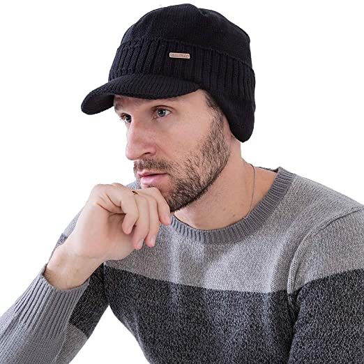 f4404df37a9 CAMOLAND Winter Beanie w Visor   Earflaps for Men Outdoor Fleece Hat ...