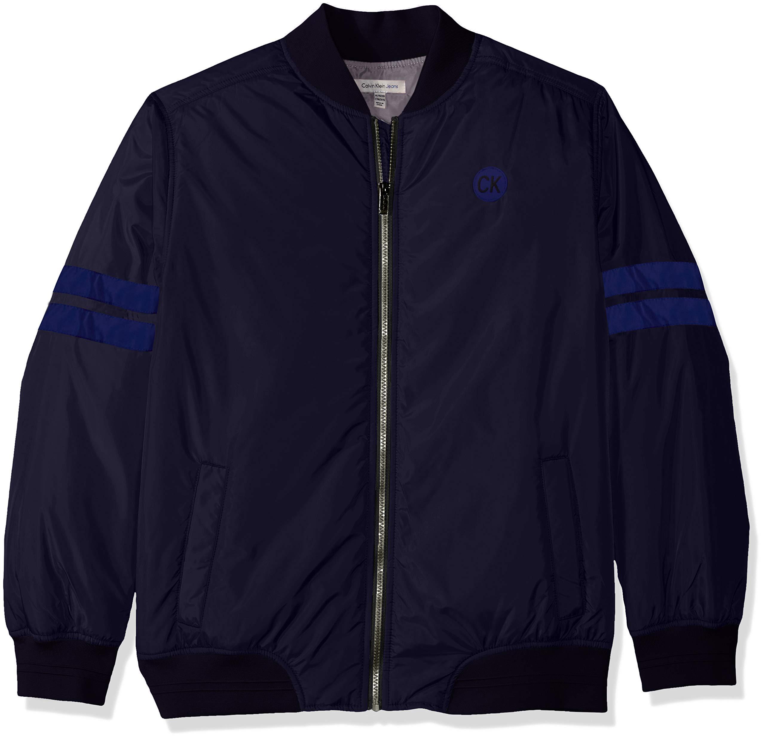 Calvin Klein Boys' Big Varsity Track Jacket, Navy, Large (14/16)