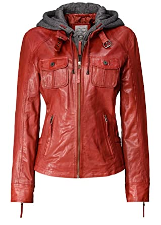 Amazon lederjacke damen rot