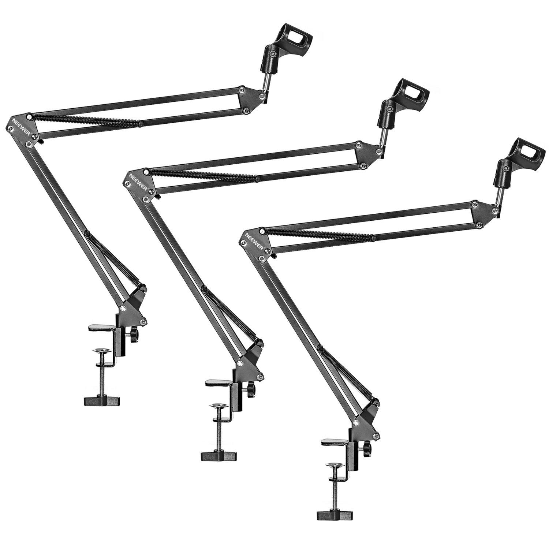 Neewer 3 Pack NW-35 Microphone Suspension Boom Scissor Arm Metal Stands, Black