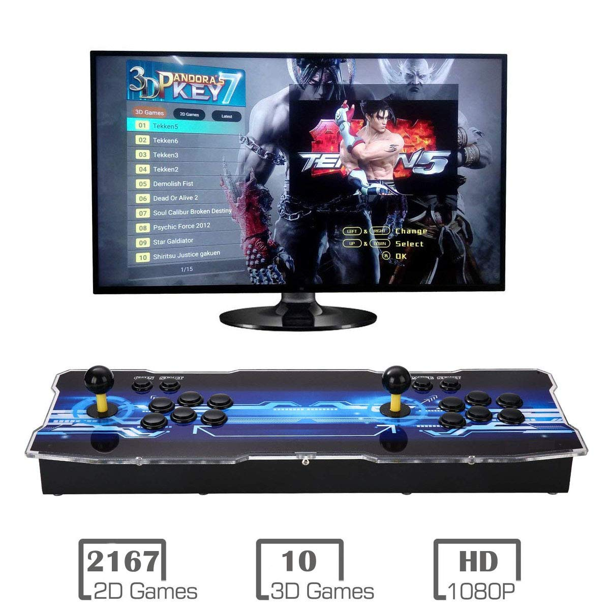 MYMIQEY 3D Pandora Key 7 Arcade Game Console | 2177 Retro HD Games | Full HD (1920x1080) Video | 2 Player Game Controls | Support Multiplayer Online | Add More Games | HDMI/VGA/USB/AUX Audio Output by MYMIQEY (Image #1)