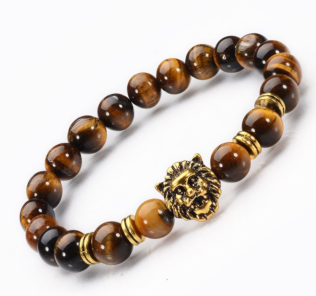 Jewelry Natural Tiger Eye Stone / Gold - plated Lion Head Mens 8 mm Beads Elastic Bracelets for women ans girls